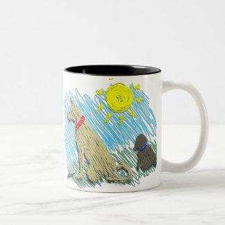 Lady and Bunny Sunny Two-Tone Coffee Mug