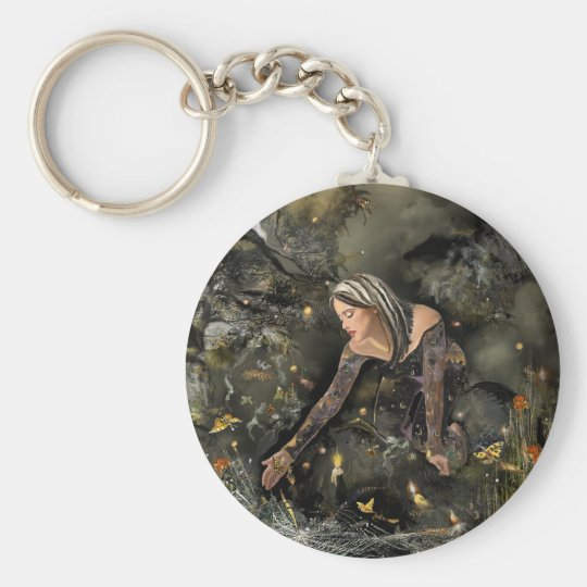Lady and  Butterflies! Keychain