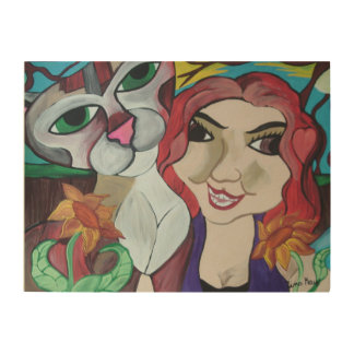 Lady and Cat Wood Print