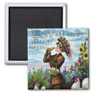 Lady and Chickens Vintage Easter 2 Inch Square Magnet