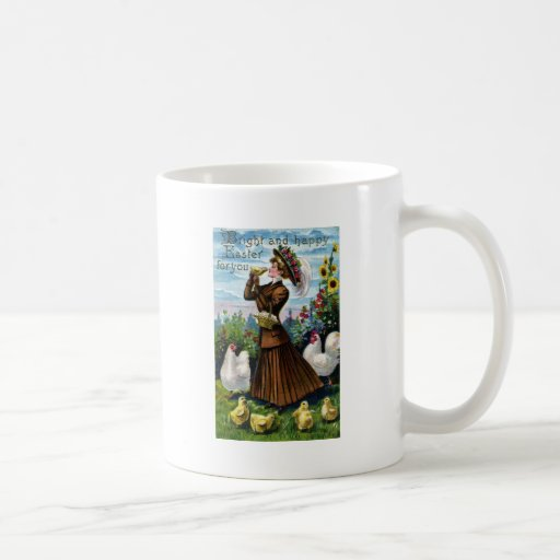 Lady and Chickens Vintage Easter Coffee Mug