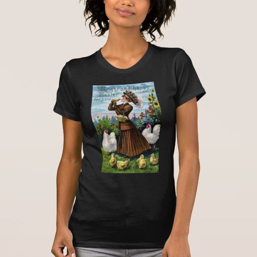 Lady and Chickens Vintage Easter Tee Shirts
