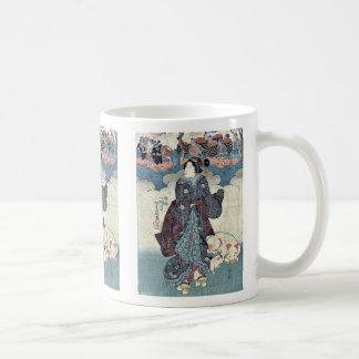 Lady and children by Utagawa Yoshifuji Coffee Mug