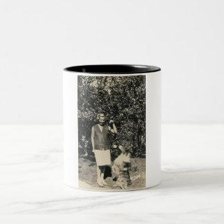 lady and dog begging mug