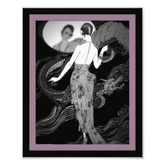 Lady and Dragon Art Deco Print Photographic Print