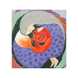 Lady and Fox. Gallery Wrapped Canvas