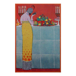 LADY AND FRUITS TABLE SET ART DECO BEAUTY FASHION POSTER