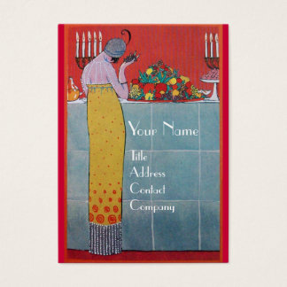 LADY AND FRUITS TABLE SET ART DECO WEDDING PLANNER BUSINESS CARD