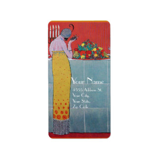 LADY AND FRUITS TABLE SET ART DECO WEDDING PLANNER LABEL