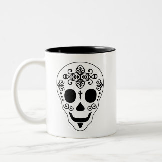 Lady and Gent Sugar Skull by Leslie Peppers Two-Tone Coffee Mug