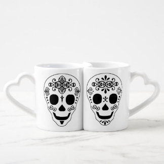 Lady and Gent Sugar Skull by Leslie Peppers Lovers Mugs
