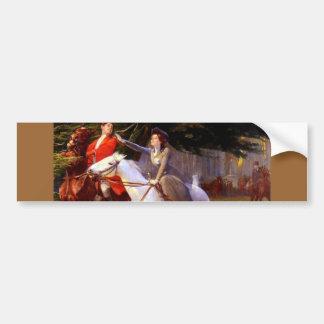 Lady and Gentleman Riding Horses Romantic Love Bumper Sticker