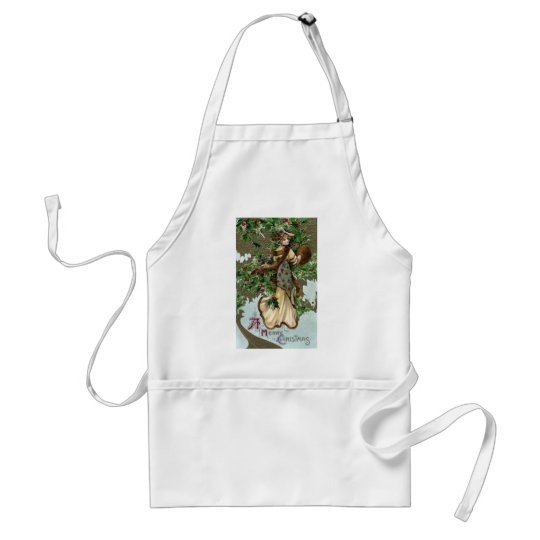 Lady and Holly Berries Vintage Christmas Adult Apron