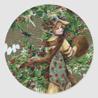 Lady and Holly Berries Vintage Christmas Classic Round Sticker