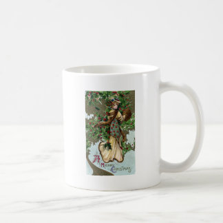 Lady and Holly Berries Vintage Christmas Coffee Mug