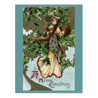 Lady and Holly Berries Vintage Christmas Postcard