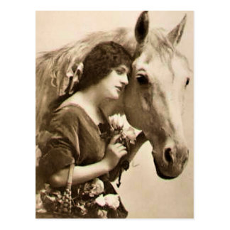 Lady and Horse Postcard