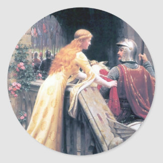 Lady and Knight castle Classic Round Sticker