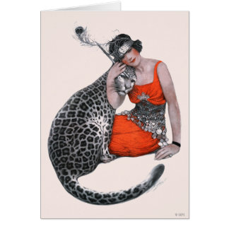 Lady and Leopard Greeting Cards