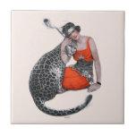 "Lady and Leopard Ceramic Tile<br><div class=""desc"">Artist:Sarah Stilwell-Weber   Woman with leopard</div>"