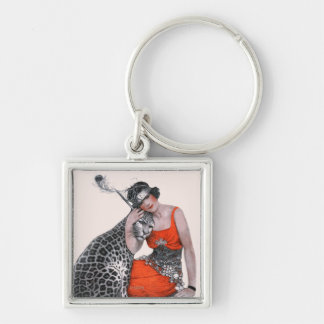 Lady and Leopard Key Chain