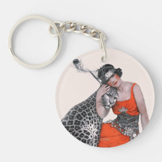 Lady and Leopard Acrylic Key Chain