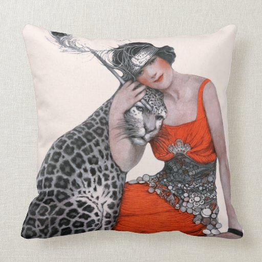 Lady and Leopard Pillow