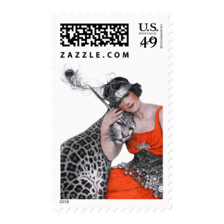 Lady and Leopard Postage Stamp