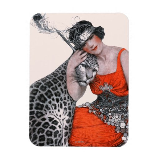 Lady and Leopard Rectangular Magnet