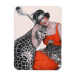 Lady and Leopard Rectangular Photo Magnet