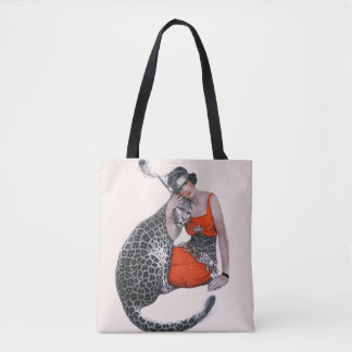 Lady and Leopard Tote Bag