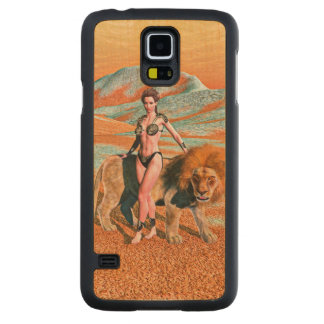 Lady and Lion Carved® Maple Galaxy S5 Slim Case