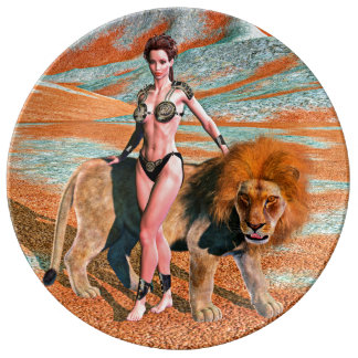 Lady and Lion Porcelain Plate