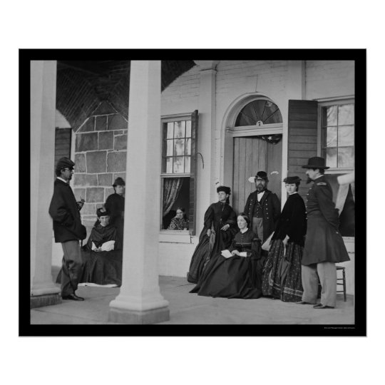 Lady and Officers at Fort Monroe, VA 1864 Poster