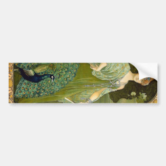 Lady and Peacock Bumper Sticker