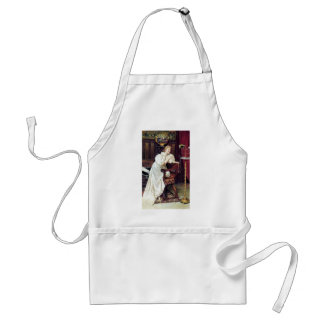 Lady and Pet Parrot Bird antique painting Adult Apron