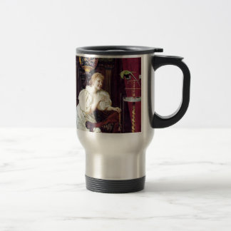 Lady and Pet Parrot Bird antique painting Travel Mug