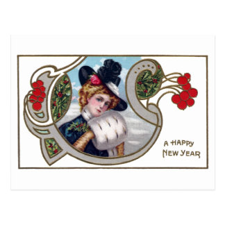 Lady and Red Berries Vintage New Year Postcard