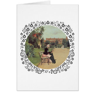 Lady and Scottie in the Park Greeting Card