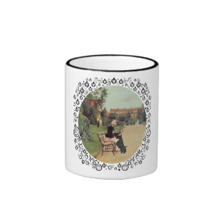 Lady and Scottie in the Park Ringer Coffee Mug