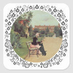 Lady and Scottie in the Park Square Sticker