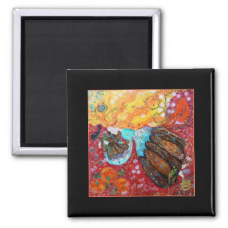Lady and the Seasons of the Year. 2 Inch Square Magnet