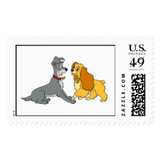 Lady and The Tramp Meet Disney Postage Stamp