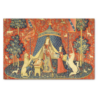 """Lady and the Unicorn Medieval Tapestry Art 10"""" X 15"""" Tissue Paper"""