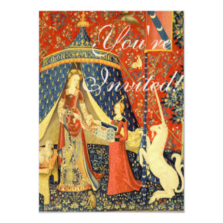 Lady and the Unicorn Medieval Tapestry Art 4.5x6.25 Paper Invitation Card