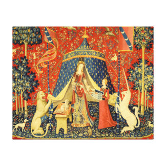 Lady and the Unicorn Medieval Tapestry Art Stretched Canvas Print
