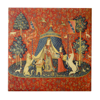 Lady and the Unicorn Medieval Tapestry Art Ceramic Tile