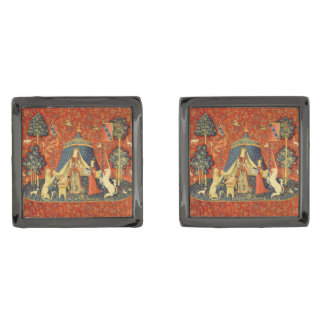 Lady and the Unicorn Medieval Tapestry Art Cufflinks