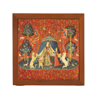 Lady and the Unicorn Medieval Tapestry Art Desk Organizer