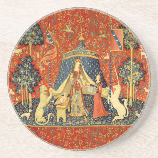 Lady and the Unicorn Medieval Tapestry Art Drink Coaster